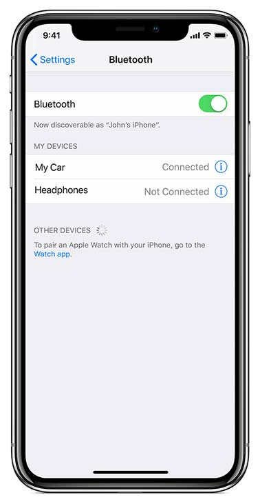 iphone xr bluetooth setting